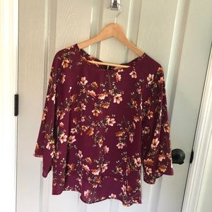 Papermoon Larie Floral Crew Neck Blouse Print